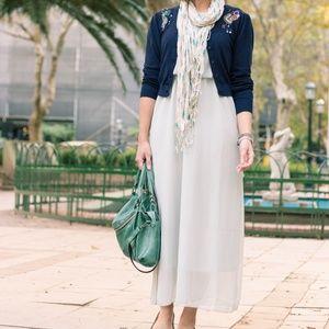 Dresses & Skirts - Grey  Boho Crew Neck Sleeveless Chiffon Maxi Dress